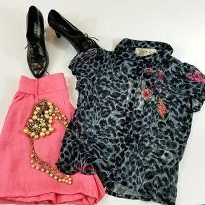 Top Shop Leopard Button Up